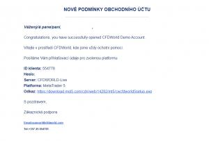 Uvítací e-mail k demo účtu brokera CFDworld