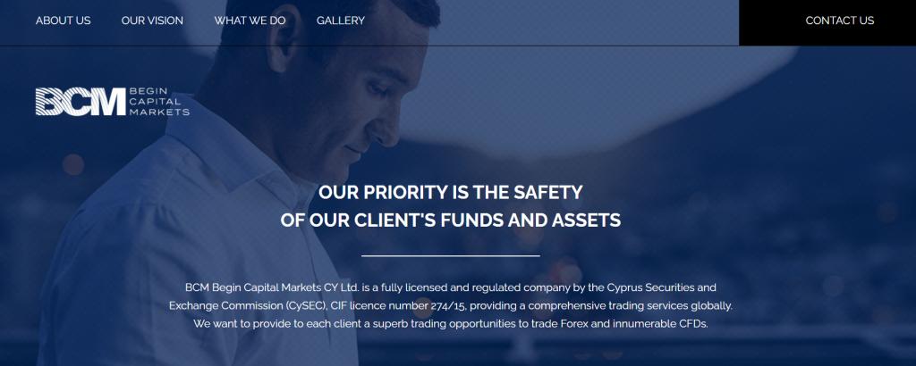 Web spoločnosti BCM Begin Capital Markets CY Ltd